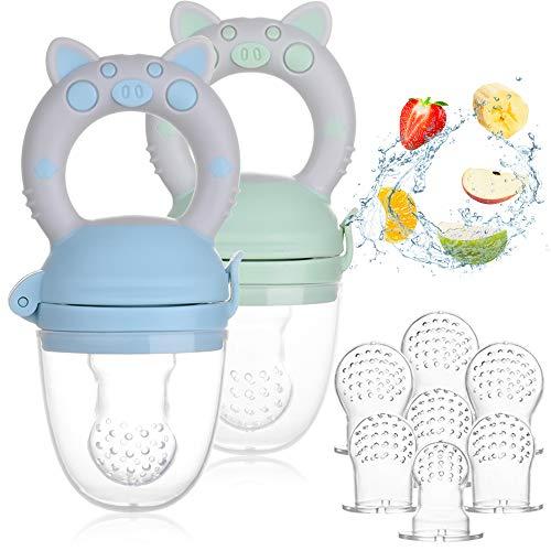 Faburo 2pcs Chupete Fruta Bebe + 9pcs Tetinas de Silicona(3 * 3), Innovador Chupete de Frutas Juguete para la Dentición del Chupete Infantil para la Dentición de Frutas