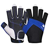 FitsT4 Sailing Gloves 3/4 Finger Padded Palm - Mesh Back for Comfort - Perfect for Sailing, Paddling, Canoeing, Kayaking, SUP for Men Women & Kids Blue M