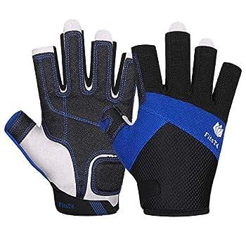 FitsT4 Sailing Gloves 3/4 Finger Padded Palm - Mesh Back for Comfort - Perfect for Sailing Paddling Canoeing Kayaking SUP for Men Women & Kids Blue L