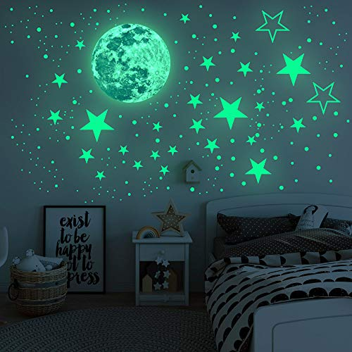 Airsnigi Glow in The Dark Stars for Ceiling,1120PCS Adhesive Wall Stickers,Including Glow Stars and The Moon,Glowing Stars for Ceiling and Wall Decals,Perfect for Kids Bedroom and Kids Birthday Gift