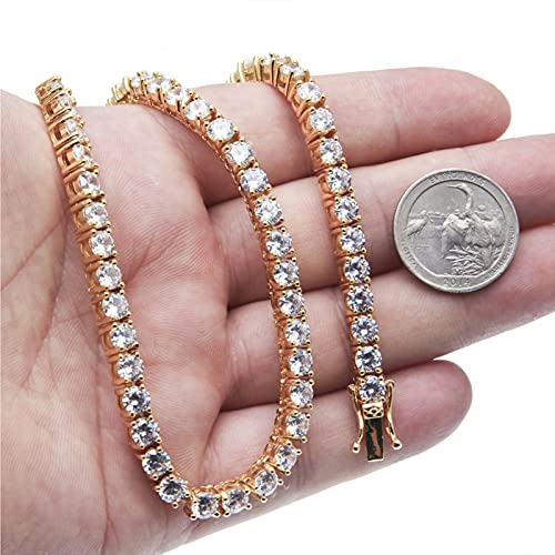 Collar de piedra de cristal de oro rosa, el mejor regalo para damas/madres/esposas/niñas, una variedad de especificaciones a elegir a voluntad de 4 mm