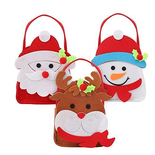 3 Pezzi di Sacchetti di Caramelle Natalizie Borsa in Feltro con manico Borsa regalo di Natale Babbo Natale Pupazzo di neve Renna Tote Bag Borsa di immagazzinaggio Borsa Borsa portatile Borsa