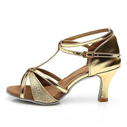 Damen Ballsaal Latein Salsa Tanz Schuhe Standard & Latein stil 255,Gold,34EU,Heel1.95¡± - 5