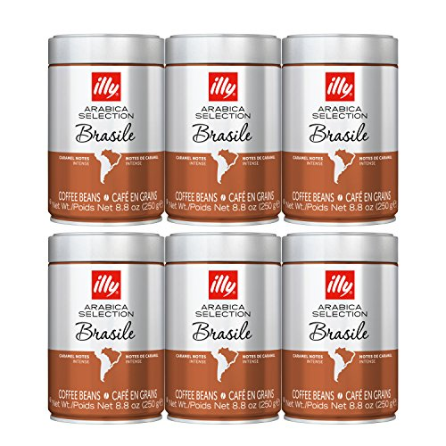 illy Coffee, Arabica Selection Whole Bean Brazil, Single Origin, Intense with Notes of Caramel, 100% Arabica Coffee, All-Natural, No Preservatives, 8.8 Ounce Can (Pack of 6)