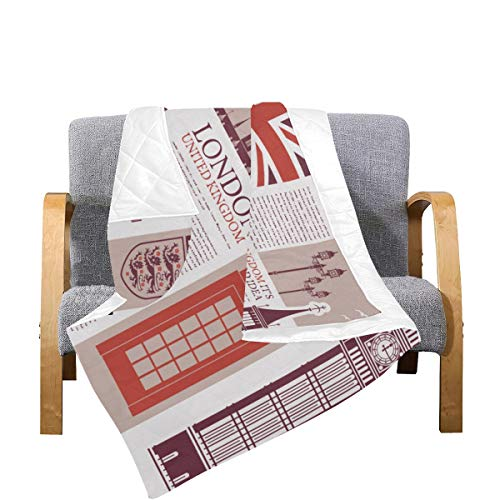 Enhusk Manta Acolchada para sofá London Streets Colchas de Microfibra Coloridas de la Torre Big Ben Edredones para niñas 70x80 Pulgadas Multicolor Decorativo para sofá Cama Sofá