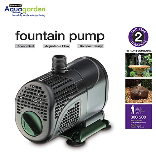 Pennington Aquagarden , Universal Fountain Pump , Suitable for Garden Fountains, Water Features, Aquaponics & Hydroponics ,  300 - 500 Gallon Gallon Model