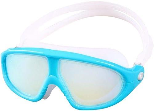 Koibless-YJ Lunettes de Natation, Lunettes de Piscine Aucune Fuite Prougeection UV Antibuée Longueur Réglable pour Hommes Femmes Adultes,Bleu Ciel