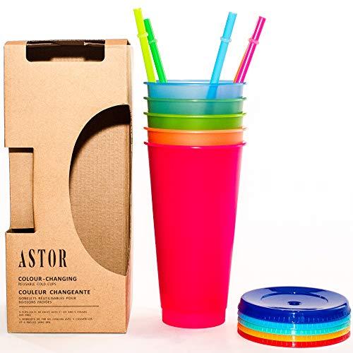 Astor | Farbwechsel-Becher | 5 wiederverwendbare Becher, Deckel und Strohhalme | Eiskaffeebecher | 680 ml kalte Becher (blanko mit farbigem Deckel)