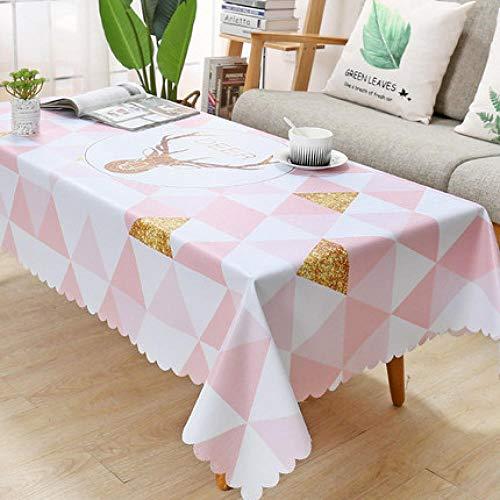 Traann Plastic tafelkleed, vierkant wipe clean, vinyl/kunststof tafelkleed, pvc, salontafel, tafelkleed, driehoek 137*200