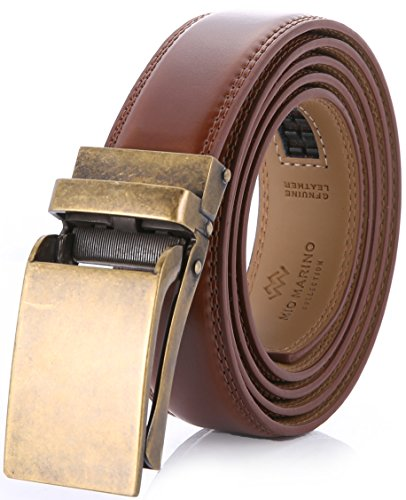 Marino Avenue Men's Genuine Leather Ratchet Dress Belt with Linxx Buckle, Enclosed in an Elegant Gift Box Burnt Umber - Style 77 Adjustable from 28' to 44' Waist