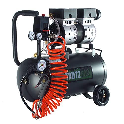TrutzHolm® Flüsterkompressor Kit 24L silent leise 62dB Druckluft 750W TH-fk24l, Kompressor, ölfrei, 8 bar, 0.75 kW, Ansaugleistung 128 L/Min, inkl. Zubehör