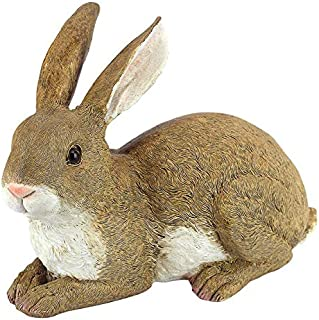 Design Toscano Bashful the Bunny Lying Down Rabbit Outdoor Garden Statue, 10 Inch, Polyresin