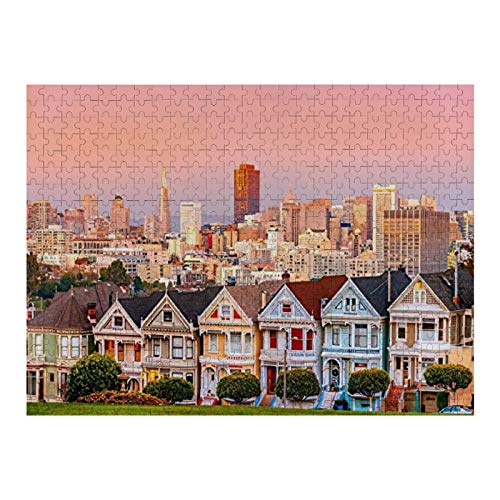 Puzzle 1000 Teile The Painted Ladies & Downtown At Sunset Puzzle für Kinder, Erwachsene, Heimdekoration, lustiges Spiel, Geburtstagsgeschenke