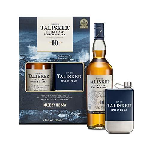 Talisker 10 Jahre, Geschenkpackung mit Flachmann Single Malt Whisky (1 x 0.7 l)