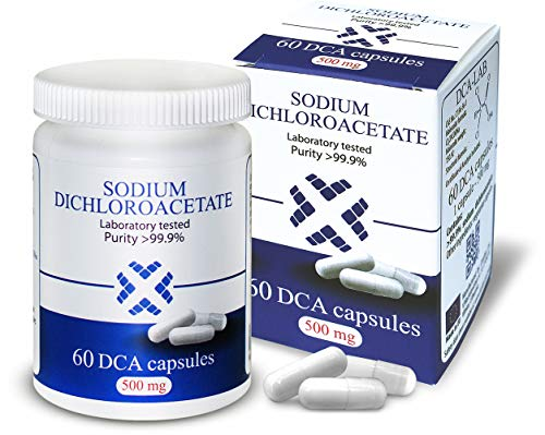 Natriumdichloracetat (Dichloressigsäure) - Sodium Dichloroacetate - DCA 500mg, Beste Reinheit >99,9%, Inklusive Analysebescheinigung, Hergestellt in Europa, von DCA-LAB, 60 Kapseln