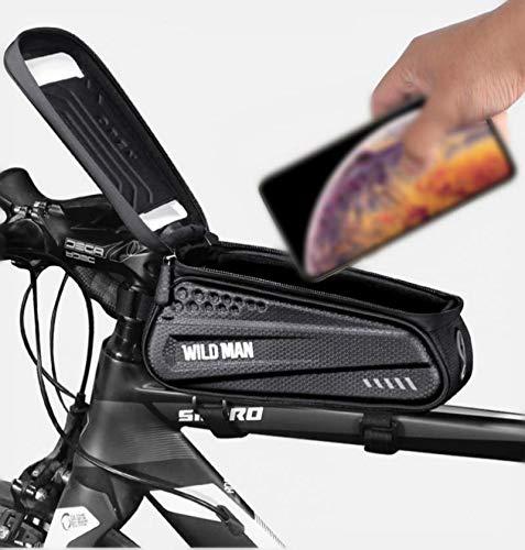 Bolsa Bicicleta Impermeable Bolsa Movil Bici, Bolsa Para Cuadro De Bicicleta Con Soporte Para Teléfono Móvil, Con Ventana Para Pantalla Táctil, Para Teléfonos Inteligentes De Menos De 6.5 Pulgadas