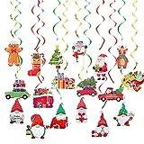 JWDYA 3 Teile/Satz GNOME Santa Claus Spiral pendel Papier flaggen Swirl Banner Weihnachten Hause hängen Dekorationen (Color : A, Size Shows)