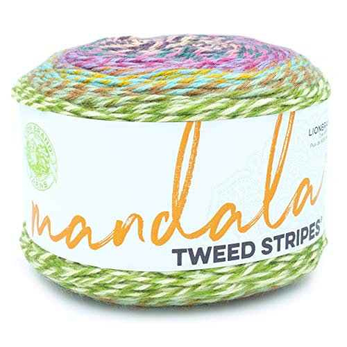 Lion Brand Yarn Mandala Tweed Stripes yarn, White Elephant