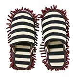 BMKJ 1 par de zapatillas multifunción de limpieza a rayas, de microfibra, para oficina o habitación (café, L (EUR...