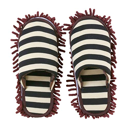 BMKJ 1 par de zapatillas multifunción de limpieza a rayas, de microfibra, para oficina, hogar, habitación (café, M (EUR 38-41))