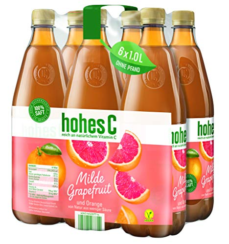 Hohes C Milde Grapefruit - 100 Prozent Saft, 6er Pack (6 x 1 l)