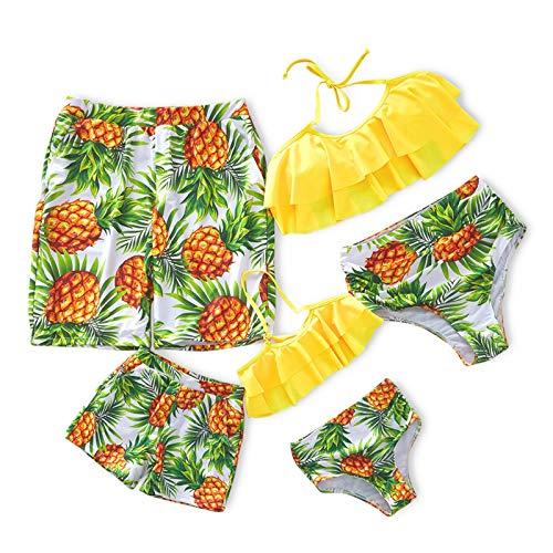 IFFEI Famiglia Costume Da Bagno In Due Pezzi Bikini Set Ananas Stampato Halter Costume Da Bagno Volant Beach Wear Trunks M