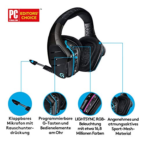 Logitech G933 Artemis Spectrum Wireless 2.4GHz Gaming Headset (with 7.1 Surround Sound Pro, suitable for PC, Xbox One and PS4) black