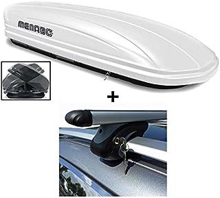 Dachbox weiß VDP MAA580 Duo großer Dachkoffer abschließbar + Alu Relingträger Dachgepäckträger 580 Liter kompatibel mit Ford Kuga ab 08