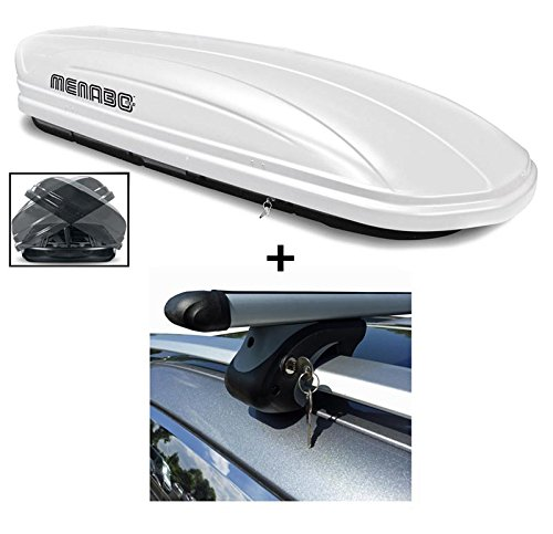 Dachbox weiß VDP-MAA580 Duo großer Dachkoffer abschließbar + Alu-Relingträger Dachgepäckträger 580 Liter kompatibel mit Renault Clio Sportour ab 07