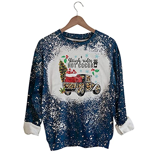 Camiseta de manga larga para mujer, cuello redondo, con estampado de copos de nieve, para mujer, camiseta, blusa, túnica, marrón, S
