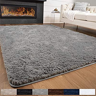 Gorilla Grip Original Premium Fluffy Area Rug, 4x6 Feet, Super Soft High Pile Shag Carpet, Washer and Dryer Safe, Modern Rugs for Floor, Luxury Carpets for Home, Nursery, Bed and Living Room, Gray