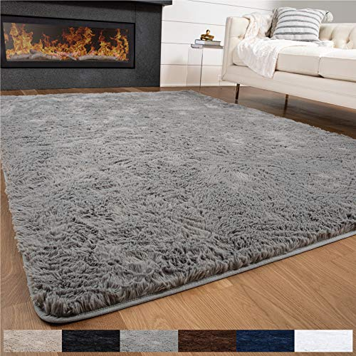 GORILLA GRIP Original Premium Fluffy Area Rug, 6x9 Feet, Super Soft High Pile Shag Carpet, Washer and Dryer Safe, Modern Rugs for Floor, Luxury Carpets for Home, Nursery, Bed and Living Room, Gray