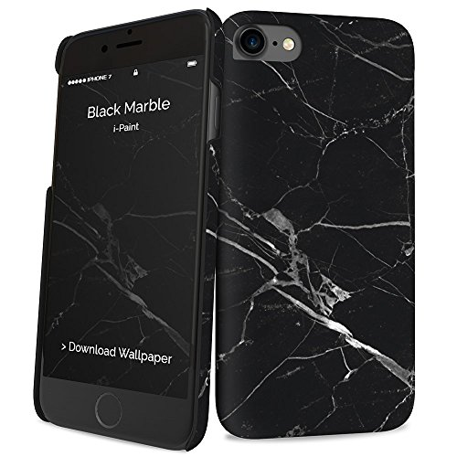 i-Paint Cover Hard Case per iPhone 8/7/SE 2020, Black Marble