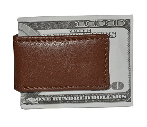 Leatherboss Genuine Leather Strong Magnetic Bifold Money Clip Cash Holder Wallet, Brown