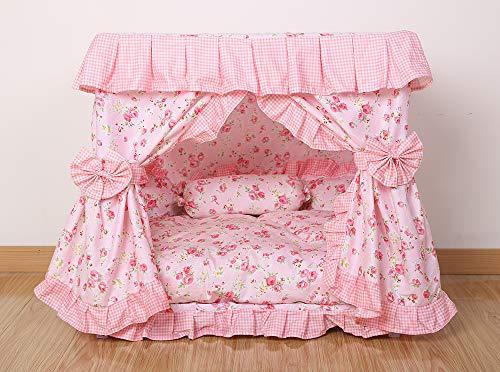 Kolachic Princess Pink Flower Floral Pet Dog Cat Handmade Bed House+1 Candy Pillow Canopy (L)