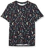 Perry Ellis Men's Ultra Soft Touch Pima Cotton Floral Print Short Sleeve Crew Neck Tee Shirt, Dark Sapphire, XX Large