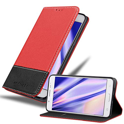 Cadorabo Hülle für Samsung Galaxy J5 2016 (6) - Hülle in ROT SCHWARZ – Handyhülle mit Standfunktion und Kartenfach aus Einer Kunstlederkombi - Case Cover Schutzhülle Etui Tasche Book