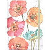 JAM PAPER Hardcover Notebook with Elastic Band - 5 3/4 x 8 1/4 - Gilded Poppies Design Journal - 160 Lined Sheets - Sold Individually