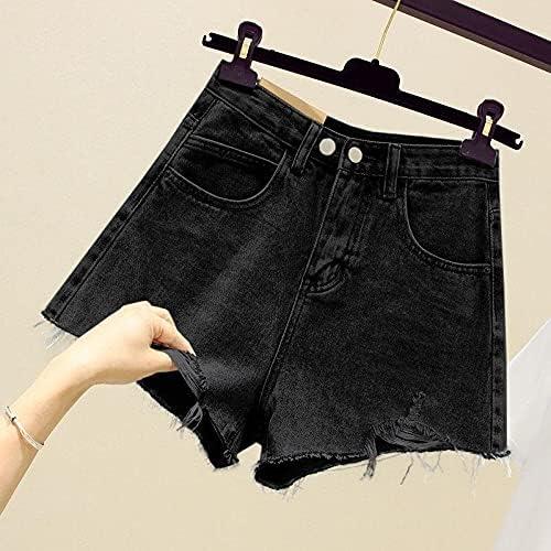 TSP New Summer Women Streetwear Hole Wide Leg Blue Denim Shorts Vintage Female Loose High Waist Black Jeans Shorts (Color : Black, Size : XL)