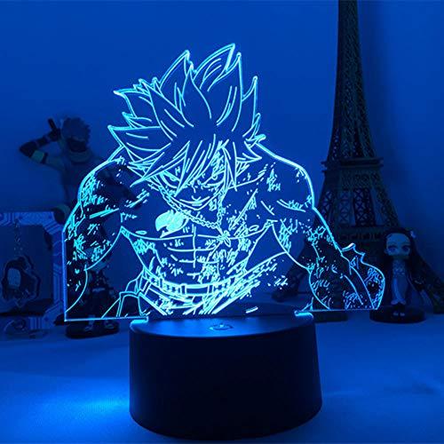 Lámpara De Ilusión 3D Luz De Noche Led Anime Para Niños Glade Dragneel Figura Figura Para Decoración Bedoom Sensor Táctil Que Cambia De Color
