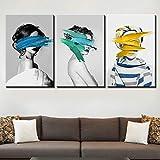 Mouygsd Grabado Pintura Pared Arte Modular Lienzo Cartel Sexy Mujer Imagen 3 Sets Moderno hogar decoración Sala de Estar Mural-con Marco 50 * 70 cm