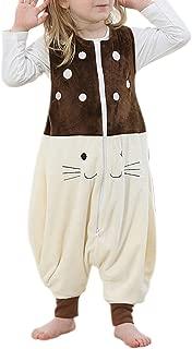 Kid's Winter Sleeveless Fleece Wearable Blanket Sleepsack(Cat Print,Medium)