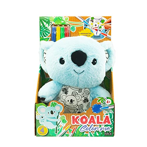 Nice Group - Pupazzo Koala color me, il peluche azzurro da colorare, lavare e ricolorare coi 4 pennarelli magici