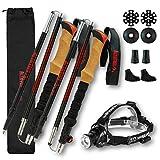 Altaitrek Pro Lot de bâtons de randonnée pliables en fibre de carbone + lampe de poche LED pour course, camping et extérieur