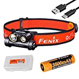 Fenix HM65R-T 1500 Lumen Spot & Flood Light USB-C Rechargeable Headlamp, Lightweight for Trail Running with LumenTac Battery Organizer