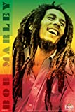 Pyramid America Bob Marley Rasta Colors Dreads Smile Jamaican Reggae Music Icon Laminated Dry Erase Sign Poster 24x36