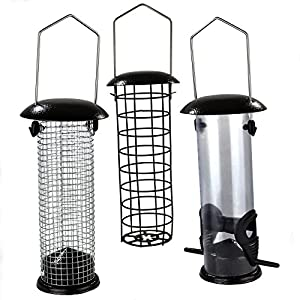 Easipet Hanging Wild Bird Feeder set of 3 Seed Nut Fat Ball Garden Feeding Station