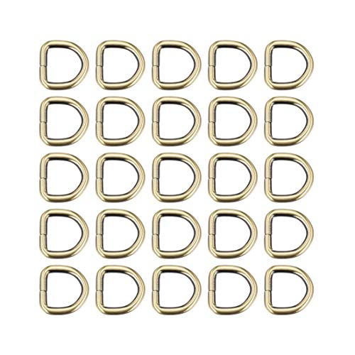 DyniLao 25pcs Metal D-Ring 0.8'(20mm) D-Rings Buckle Material Bags Belts DIY Crafts Accessories Bronze Tone