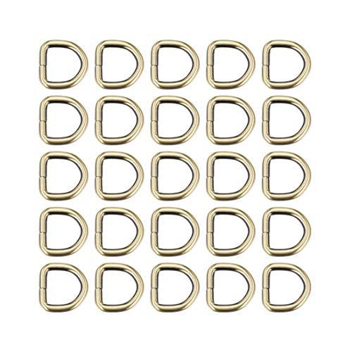 DyniLao 25pcs Metal D-Ring 0.8'(20mm) D-Rings Buckle Material Bags Belts DIY Crafts Accessories Bronze Tone