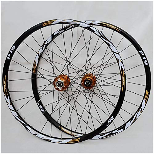 ZPPZYE Ruedas Bicicleta 26' 27,5 Pulgadas Llanta MTB Pared Doble Aleación Rueda de Bicicleta 29er Híbrido/Montaña Compatible 7/8/9/10/11 Velocidad (Color : Gold, Size : 27.5 Inch)